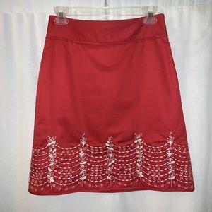 Ann Taylor Women's Red Skirt Size 0